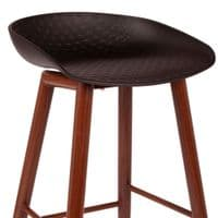 2x About a Stool, Black Barstools with Walnut Metal Legs